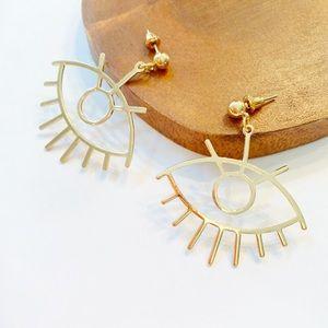 Evil Eye Gold Drop Earrings